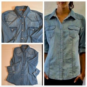 Highway Jean Distressed Snap Button Down Top